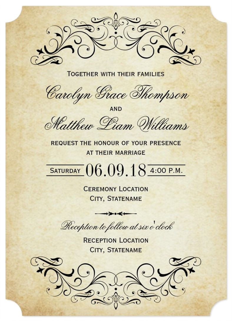 Sample Wedding Invitation Template 31 Elegant Wedding Invitation Templates Free Sample