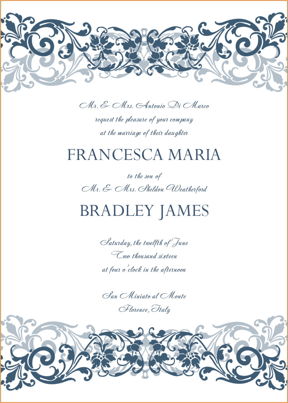 8 sample wedding invitation