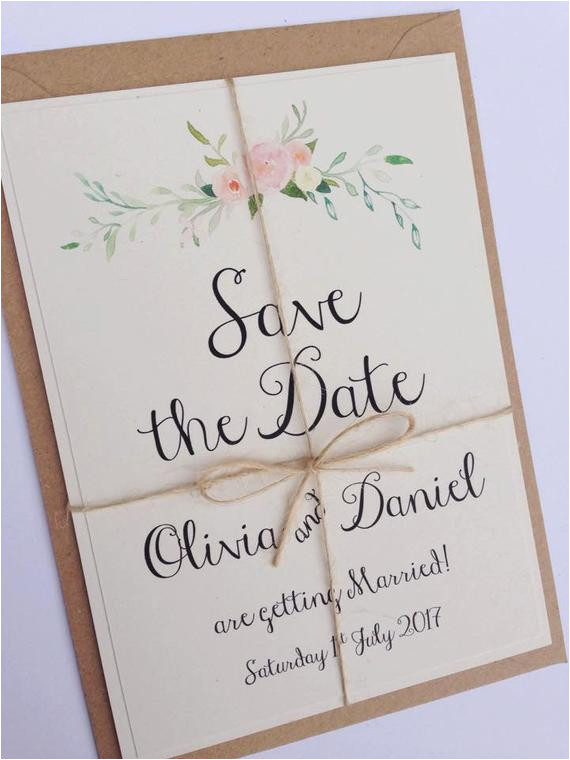 rustic floral save the date wedding