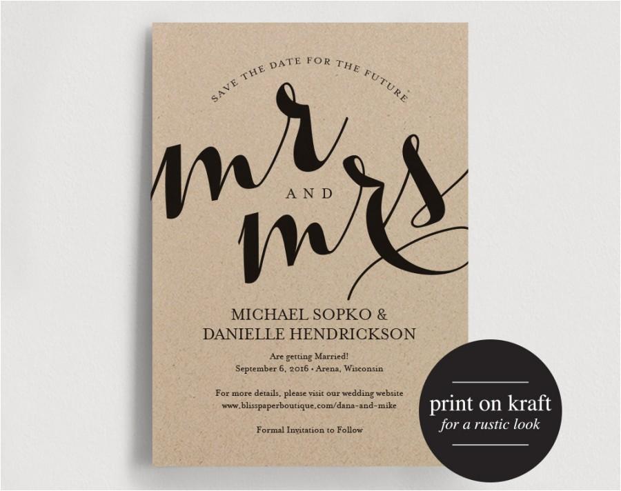 save the date printable template save the date invitation kraft editable wedding printable pdf instant download bpb139