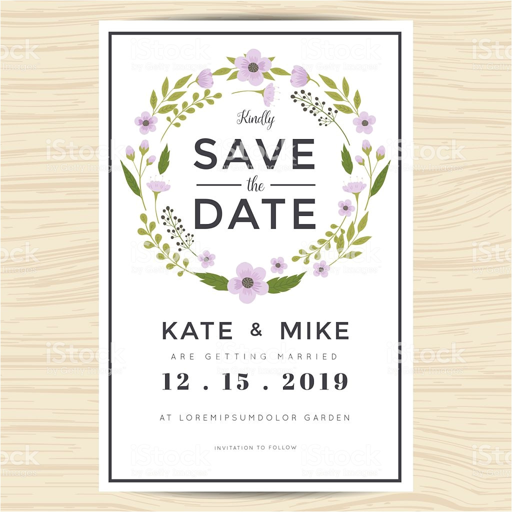 save the date wedding invitation card template with wreath flower gm607621562 104163763