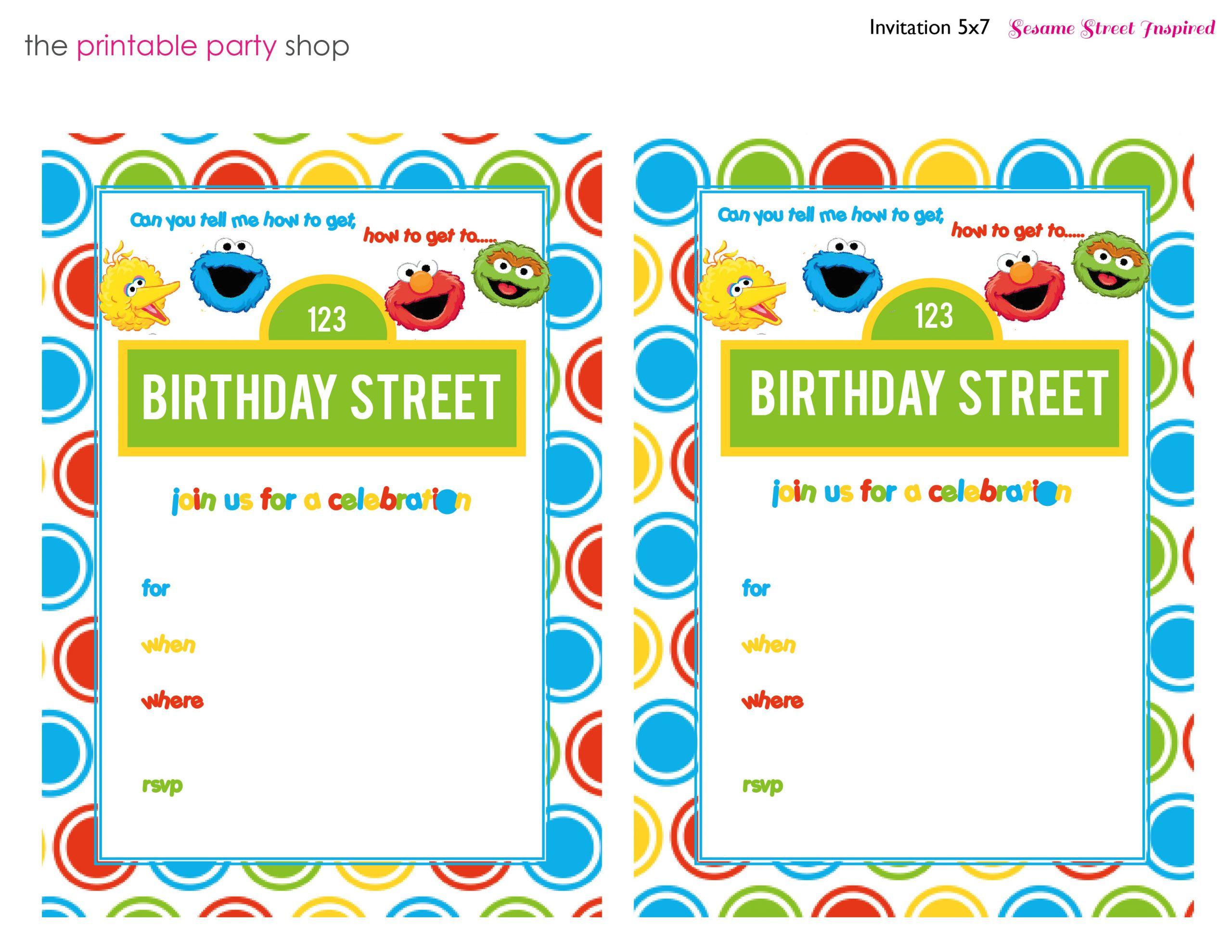 free printable sesame street 1st birthday invitations templates