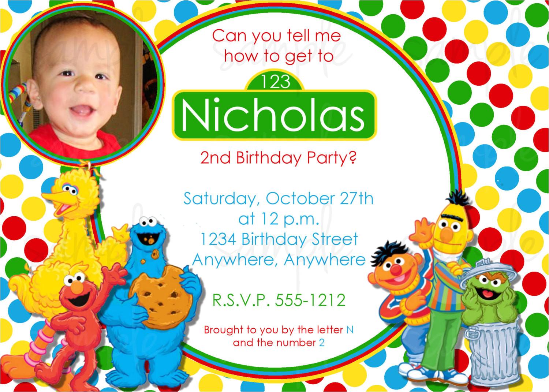 sesame street birthday invitation