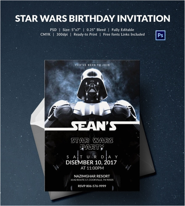 sample star wars birthday invitation