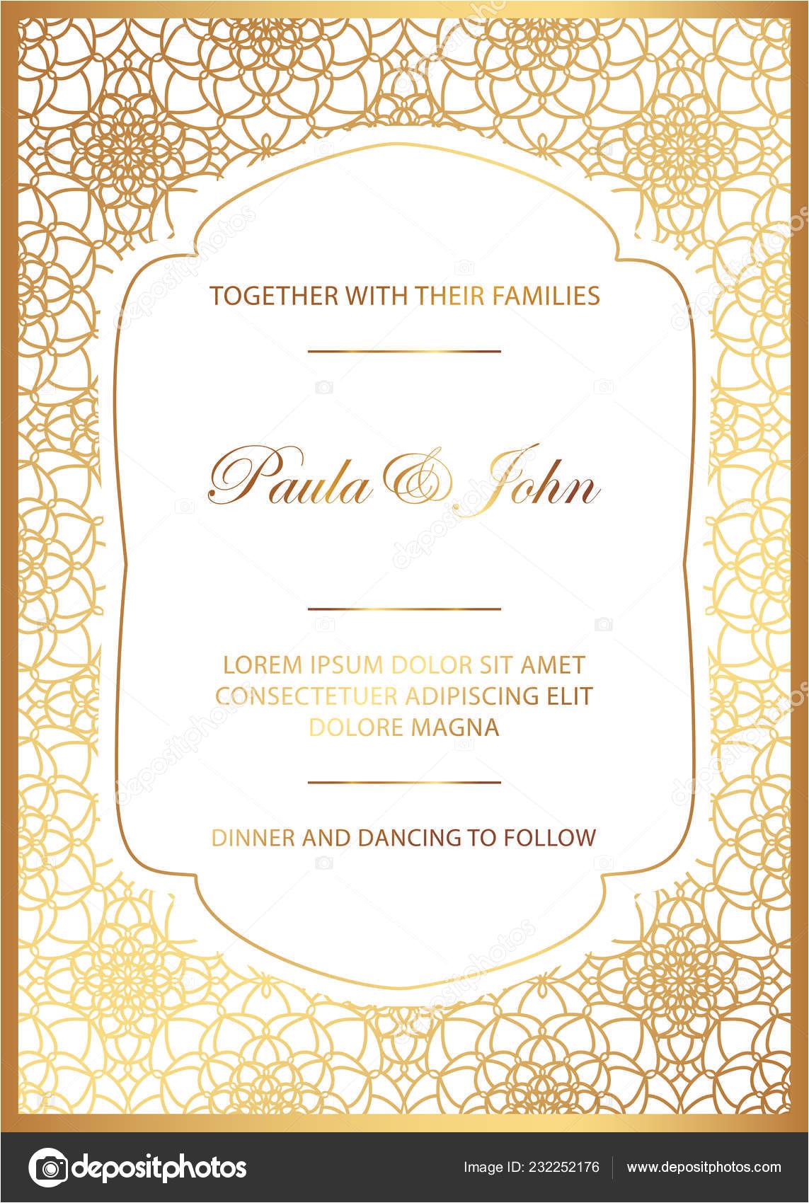 stock illustration stylish gold white wedding card