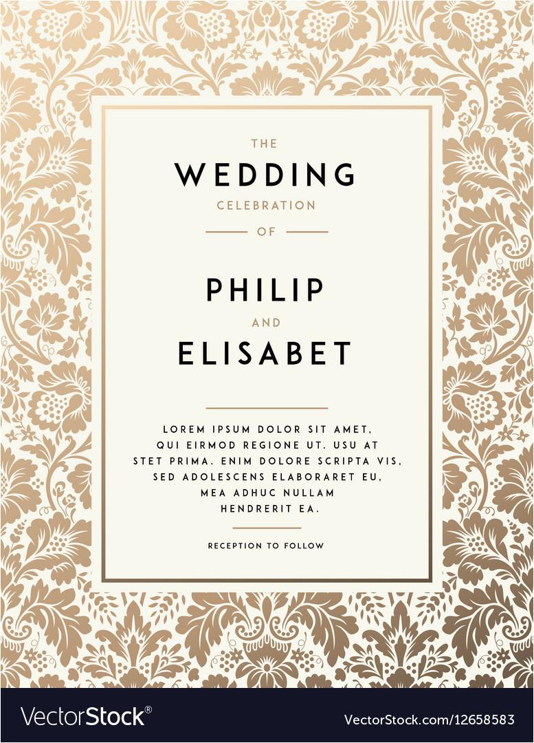 vintage wedding invitation template vector 12658583