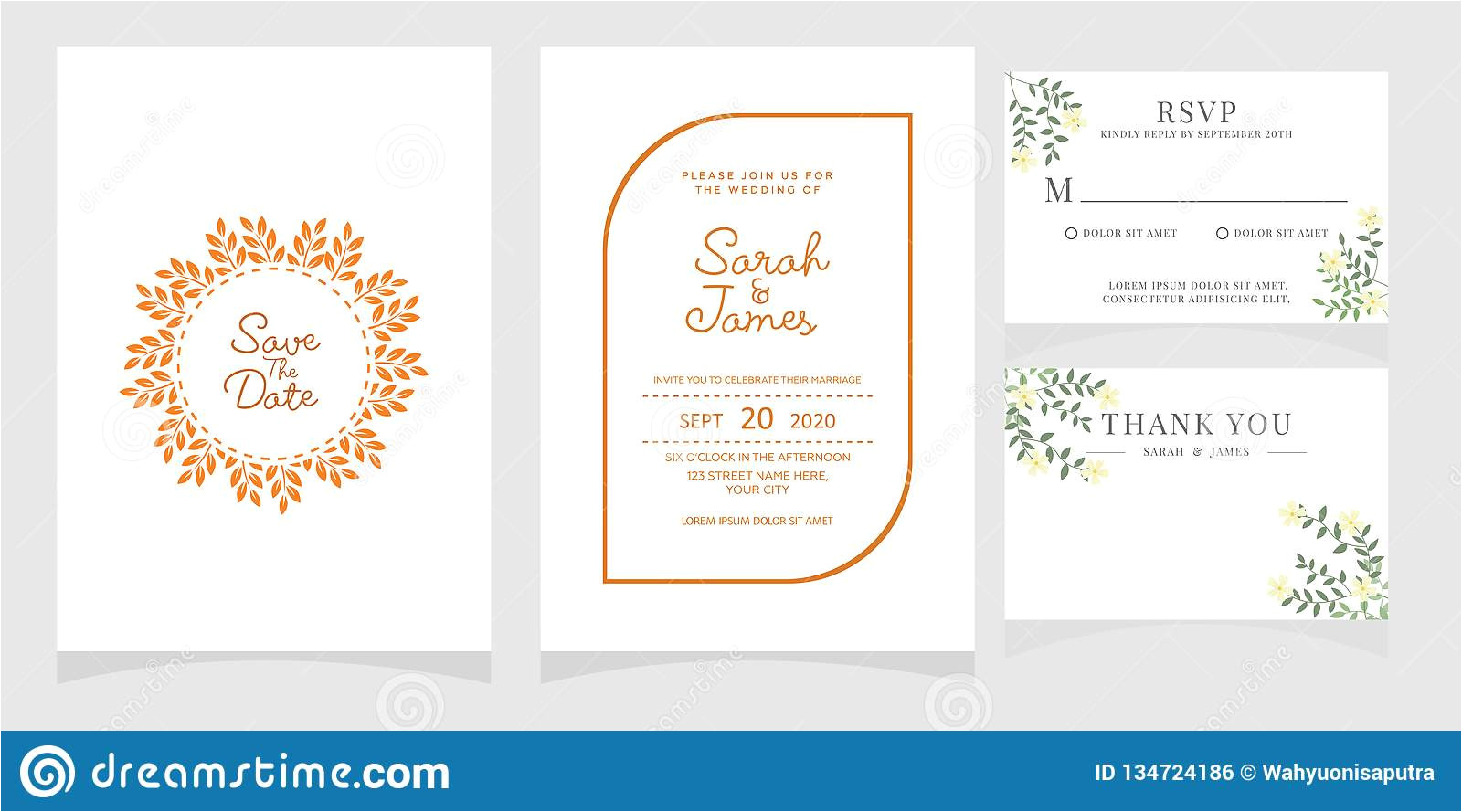 wedding invitation card template copper color flower floral background save date vector illustratio illustration image134724186