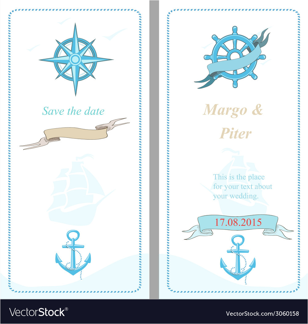 wedding invitation template nautical style vector 3060158