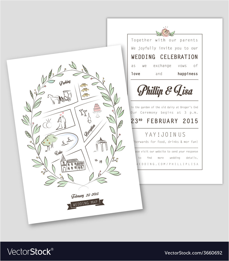 wedding invitation template with map vector 3660692