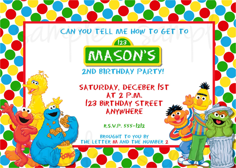 sesame street birthday invitation templates