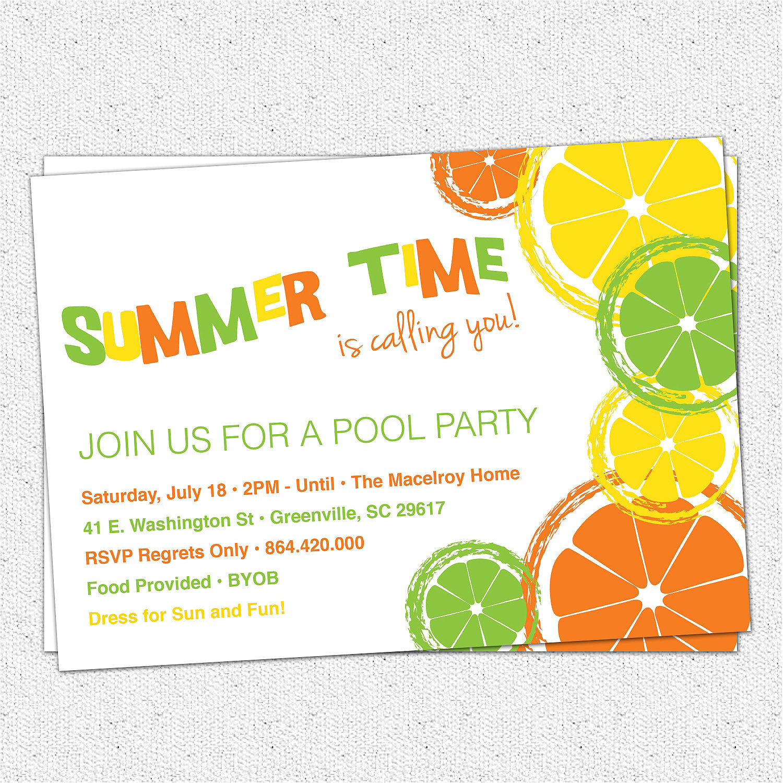 citrus invitation summer pool party