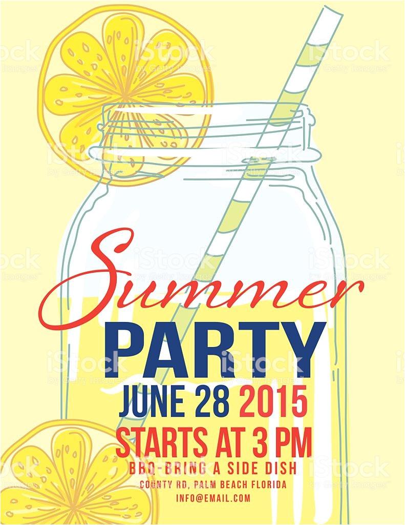 lemonade summer beach party invitation template gm468822414 62014630