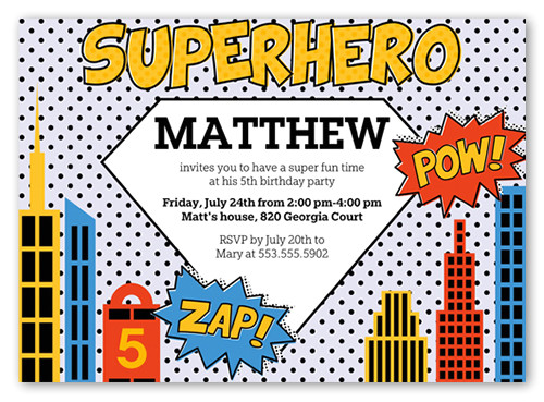 superhero birthday invitation 5x7 flat productcode 1123154 categorycode 60383 skucode 1123155