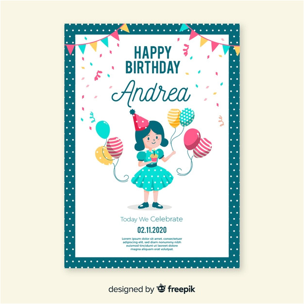 birthday invitation template flat style 5154889