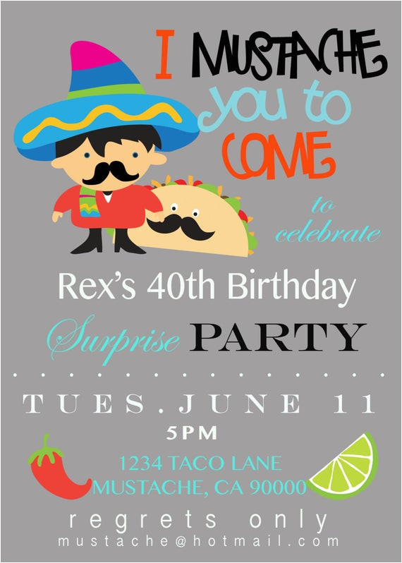 mustache taco party invitation
