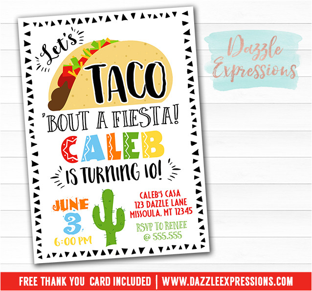 taco fiesta birthday invitation free thank you card