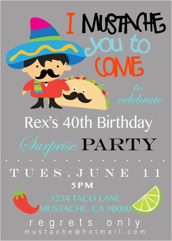mustache taco party invitation