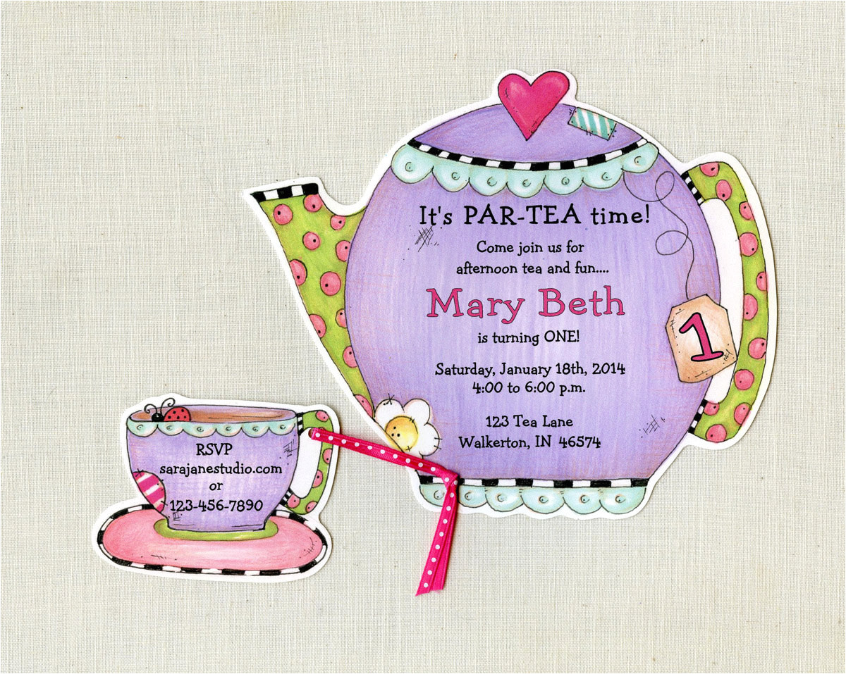 personalized tea party invitations
