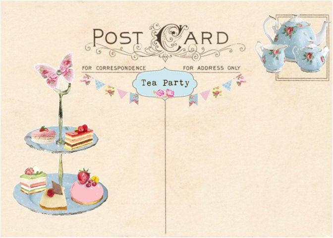 vintage tea party invitation tea party
