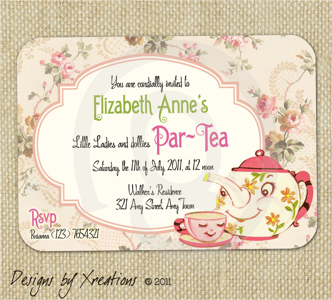 cute vintage tea party invitation