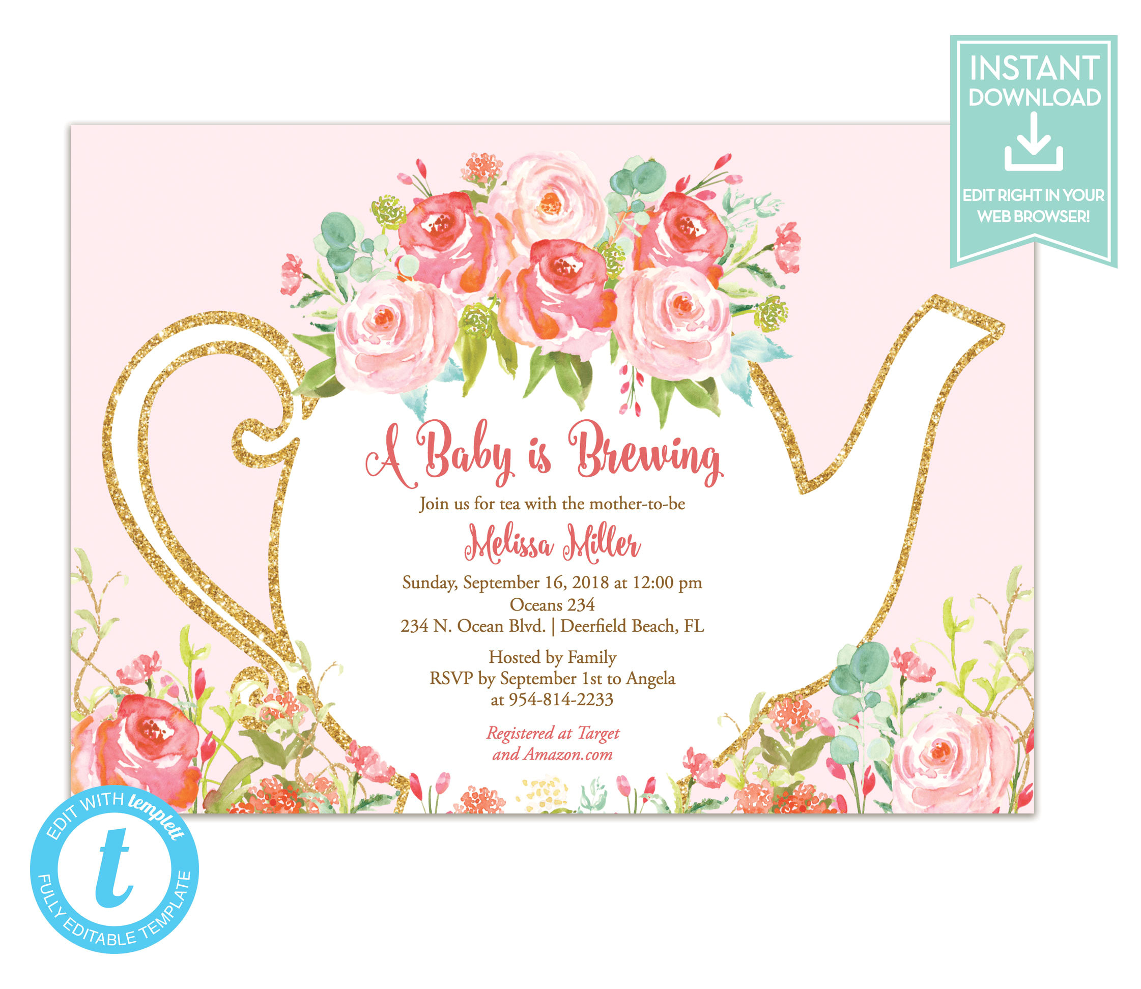 tea party invitation template floral