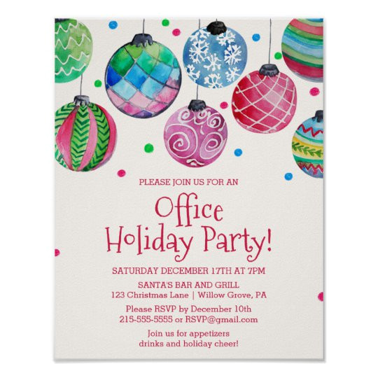 holiday ornament office christmas party invitation poster 228043488041866211