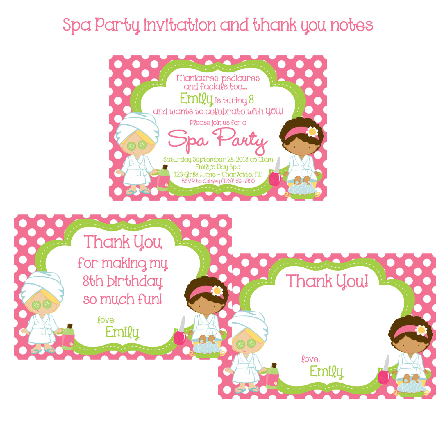 girls spa party invitation and thank you