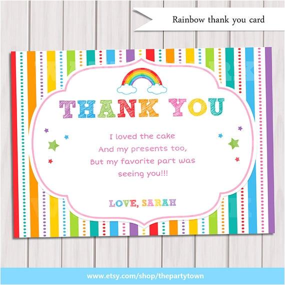 rainbow thank you card rainbow birthday