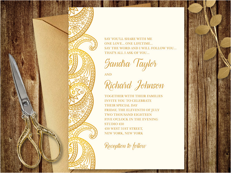 gold wedding invitation paisley