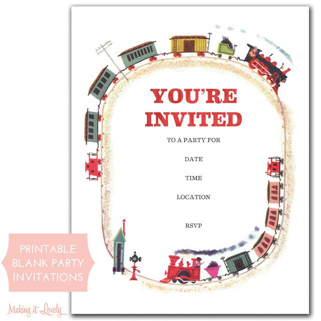 train birthday invitation templates free