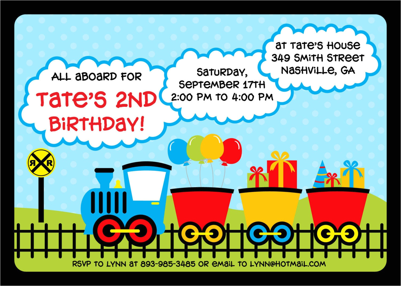 fun train birthday invitation