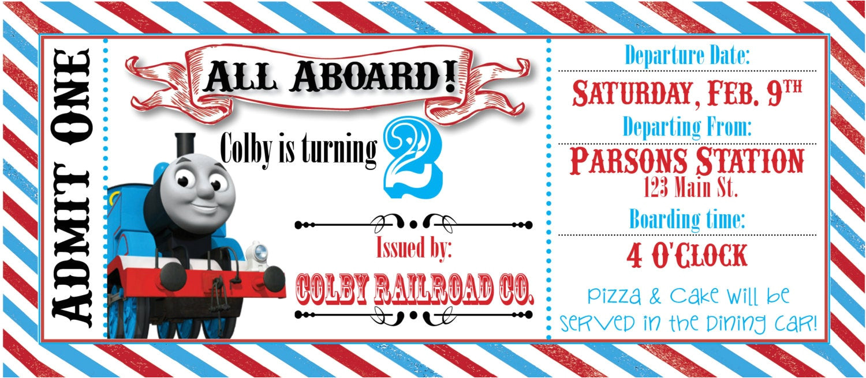 thomas the train ticket party invitation
