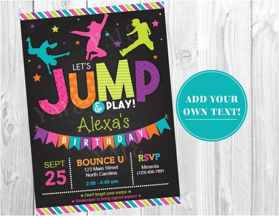 jump birthday invitation trampoline
