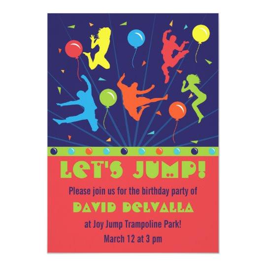 trampoline birthday party invitations boys girls 161171970597473873