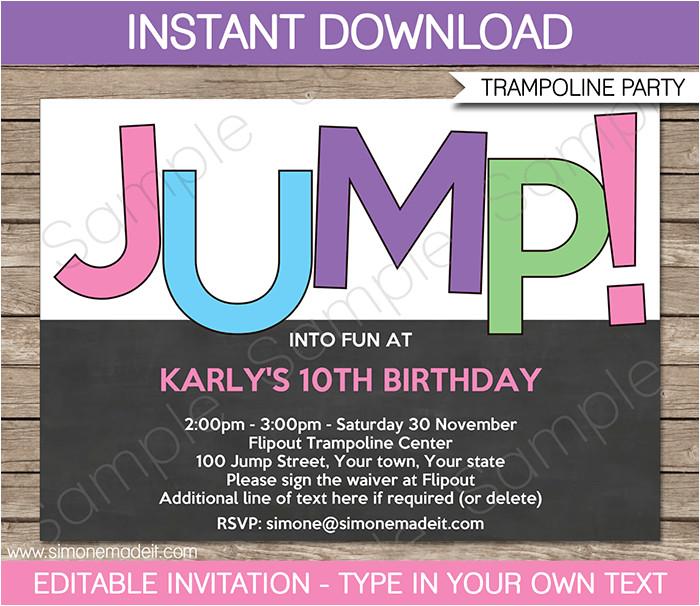 trampoline birthday party invitations girls