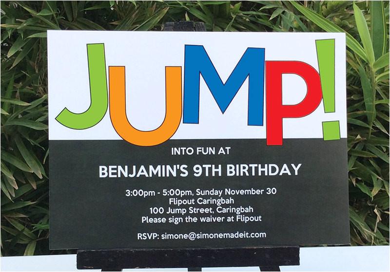 trampoline birthday party invitations printable templates new
