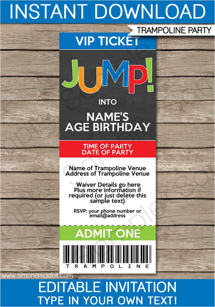 trampoline party ticket invitations