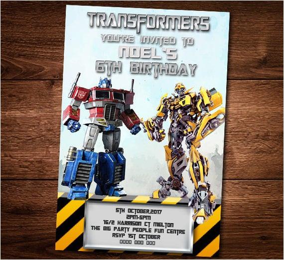 transformers birthday invitation card