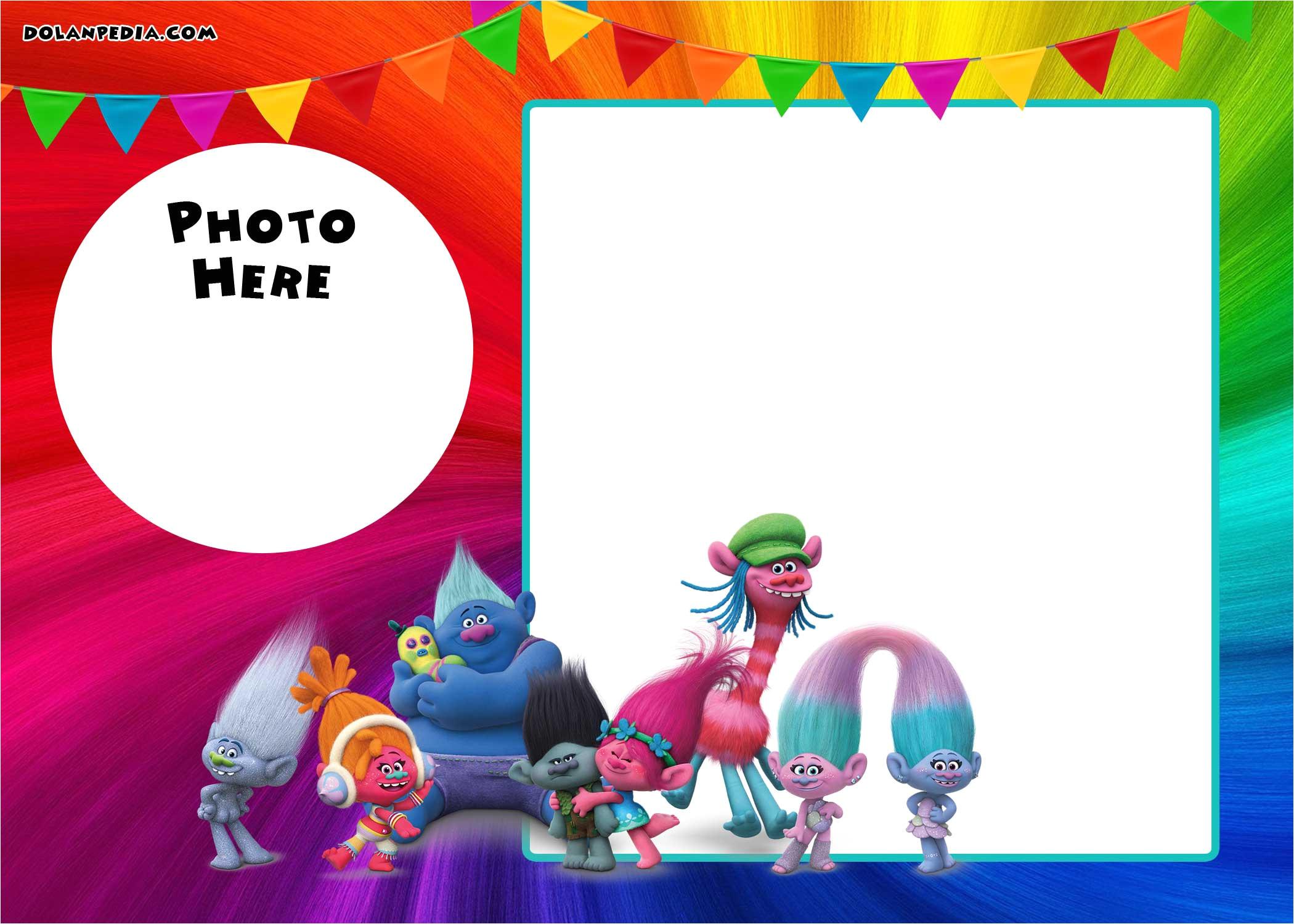 free printable trolls invitation template