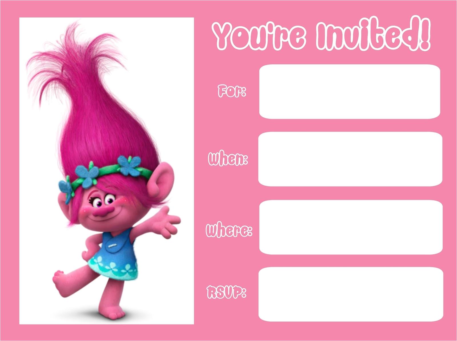 trolls movie invitations