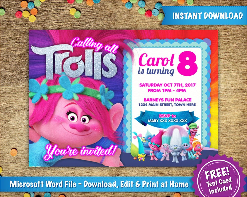 diy printable 5x7 trolls poppy birthday