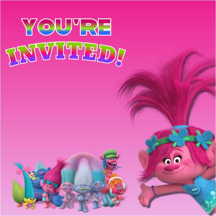 trolls invitation poster template