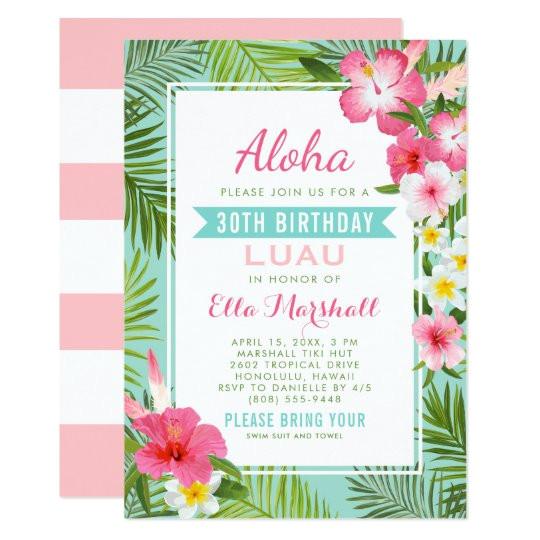birthday luau invitations tropical flowers 256740630601705517