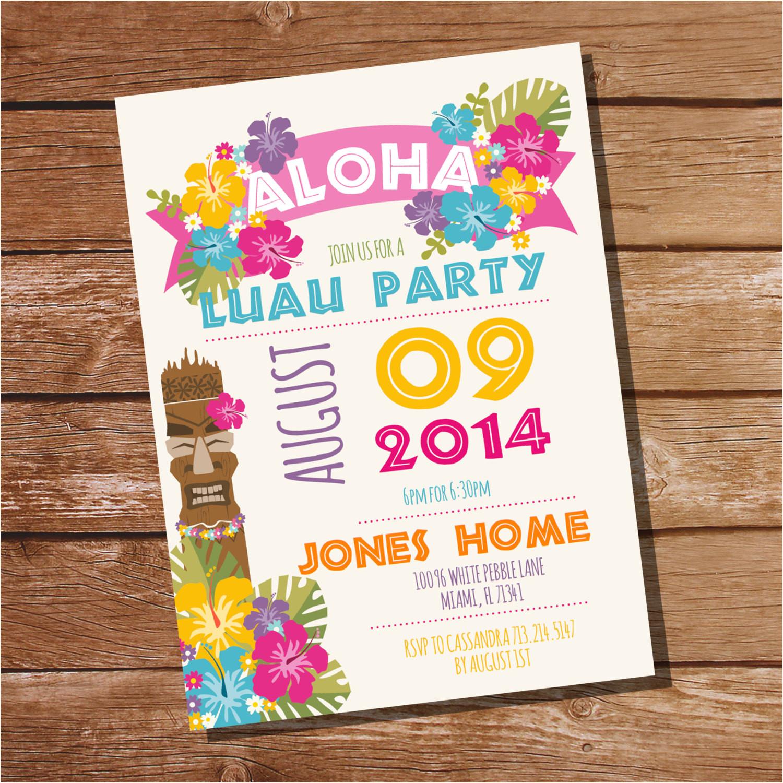 luau party invitation hawaiian party