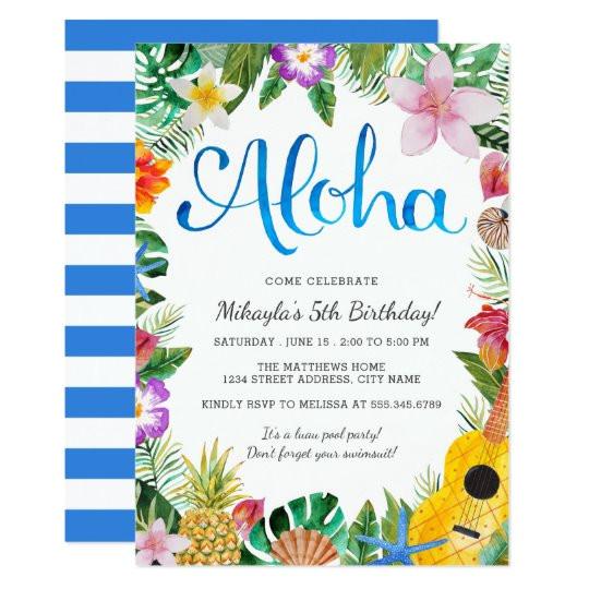 watercolor tropical luau birthday party invite 256898562491231137