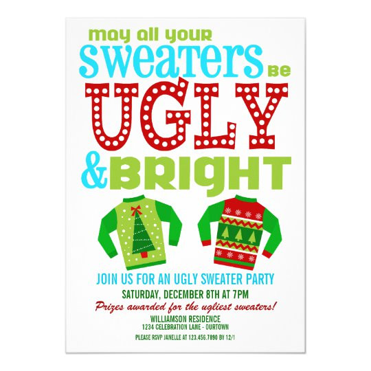 ugly n bright christmas sweater party invitation 161299918283292835