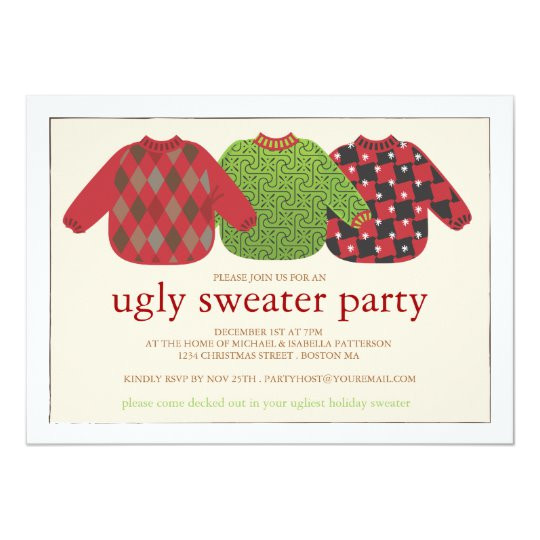 ugly christmas sweater party invitation 161213922168950160