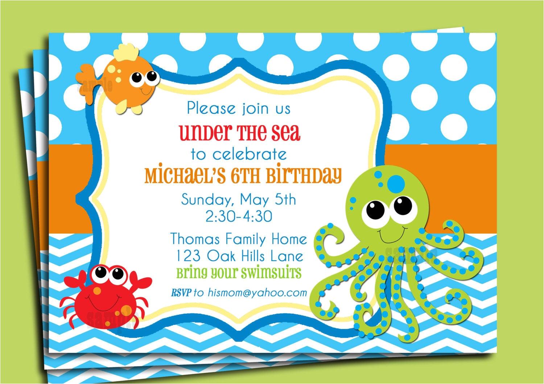 under the sea invitation printable or