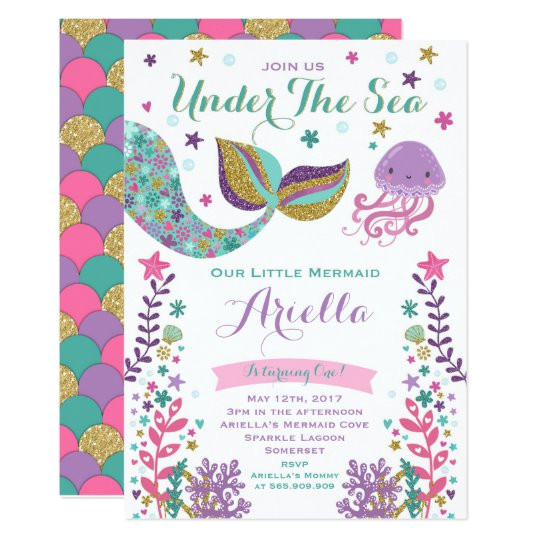 mermaid birthday invitation under the sea party 256844366313554133