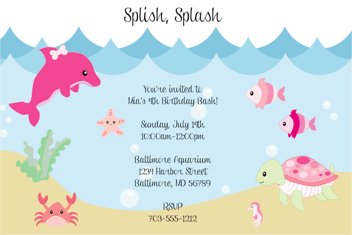 under the sea birthday invitations wording